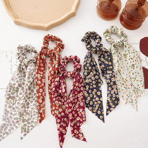 2020 Hot Sell Korean Sweet Design Colorful Floral Print Streamers Knot Hair Ping Long Tassel Hair Accessories For Women
