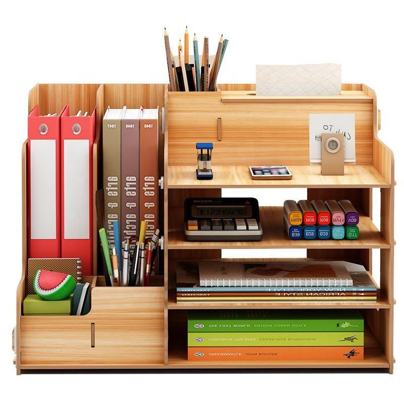 Promotional Wood Set Paper Folder Office Dormitory Pen Stationary Holder Desk Organizer