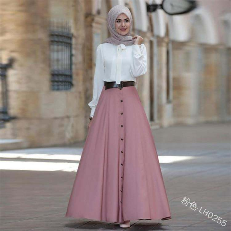 New Fashion Women Girls Europe High Waist Solid Color Simple Button Big Hem Hot Sell Long Skirts Women