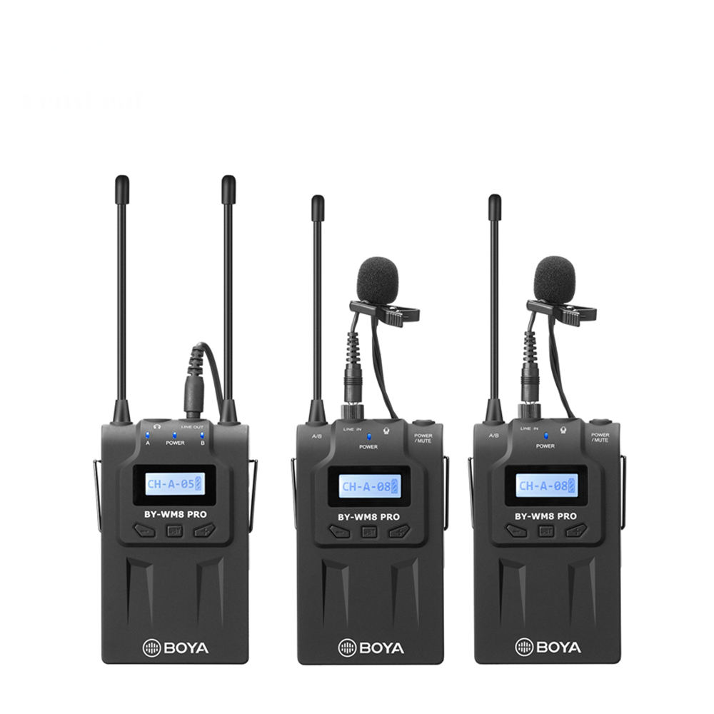 Boya BY-WM8 Pro K1 K2 UHF Dual-Channel Wireless Microphone System Interview Receiver Transmitter for iPhone DSLR Camera