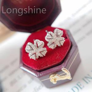 Charm Popular Lucky Four Leaf Earring Stud Clover Shaped Wedding Earring Diamond 18K Gold Jewelry