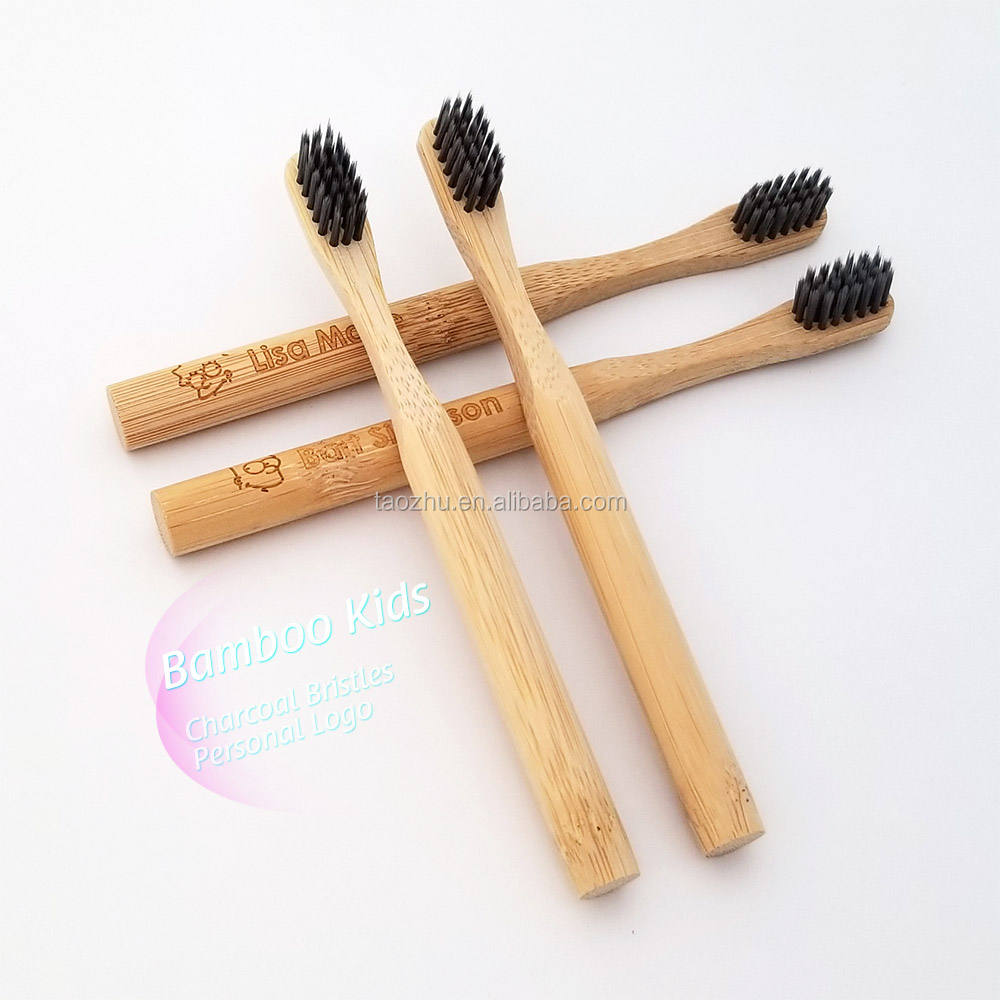 100% Natural Biodegradable Bamboo Handle Kids Bambu Toothbrush with charcoal bristles for children