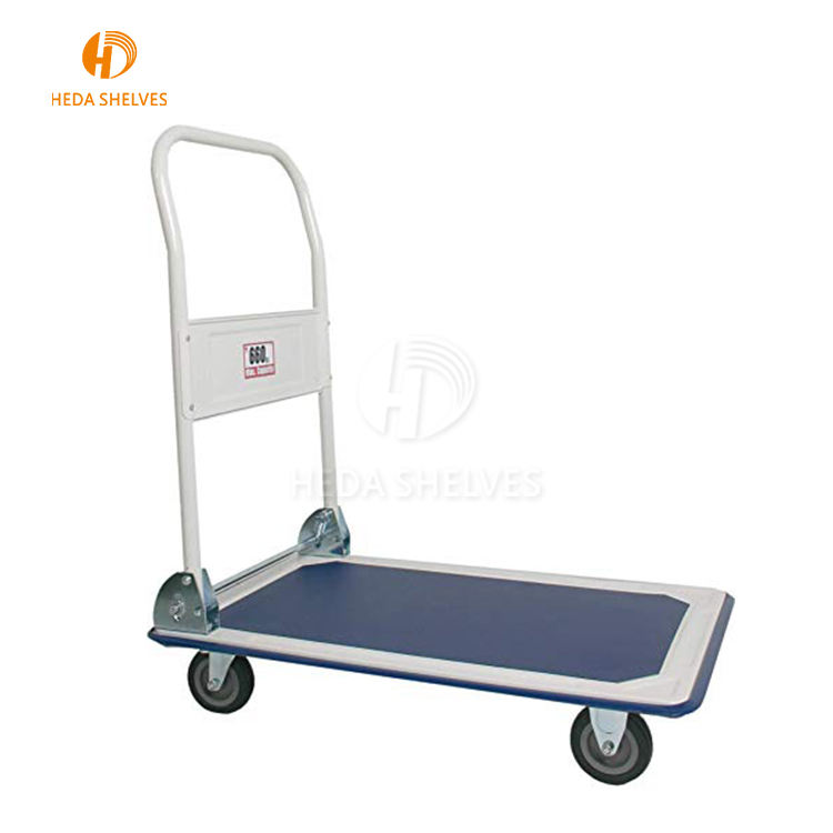 Stainless steel 300kg mute foldable hand platform cart trolley folding heavy duty industrial trolleys