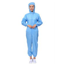 High Quality Uniforms No-dust Workshop  Work Clothes Cleanroom Garment Clothing Antistatic Coverall With Hat