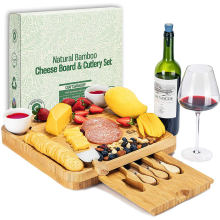 Cheap Price Large 4 Piece Knife Board Bamboo for Outdoor Picnic Kitchen Cheese