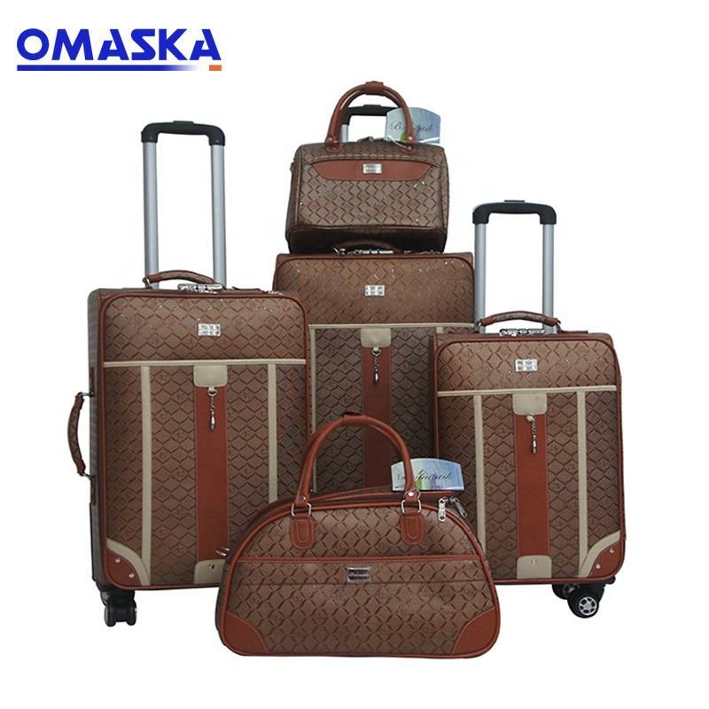 China Manufacturer High quality PU leather 4 Wheels Trolley Luggage bag Sets