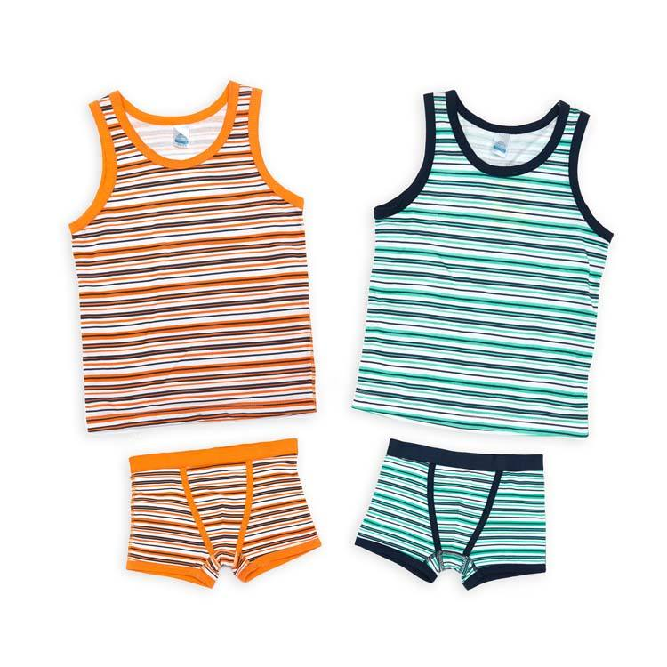 Hot Sale Summer Cute Young Boys Cotton Underwear Kids Children Cartoon Stripe Breathable Underwear Set Wholesale