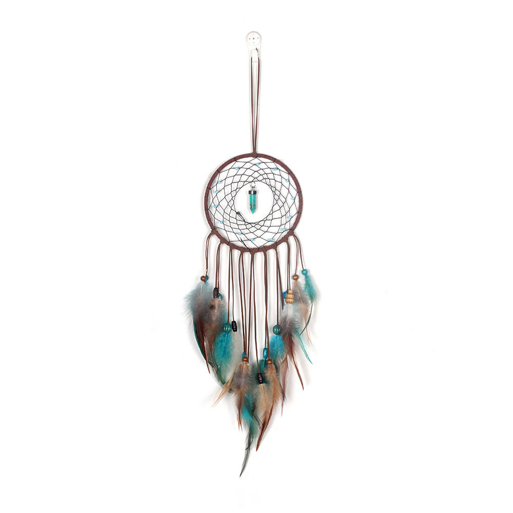 Simple turquoise feather pendant dream catcher lamp Indian feather pendant Christmas lantern