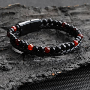 Retro Braided Leather Bracelet Punk Jewelry 2-Layer Natural Agate Stone Bead Bracelets Fashion Leather Cuff Bangle Mens Bracelet