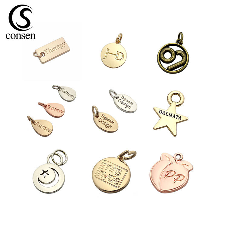 Custom made logo engraved cheap gold pendant metal jewelry tags charms for necklace / bracelet