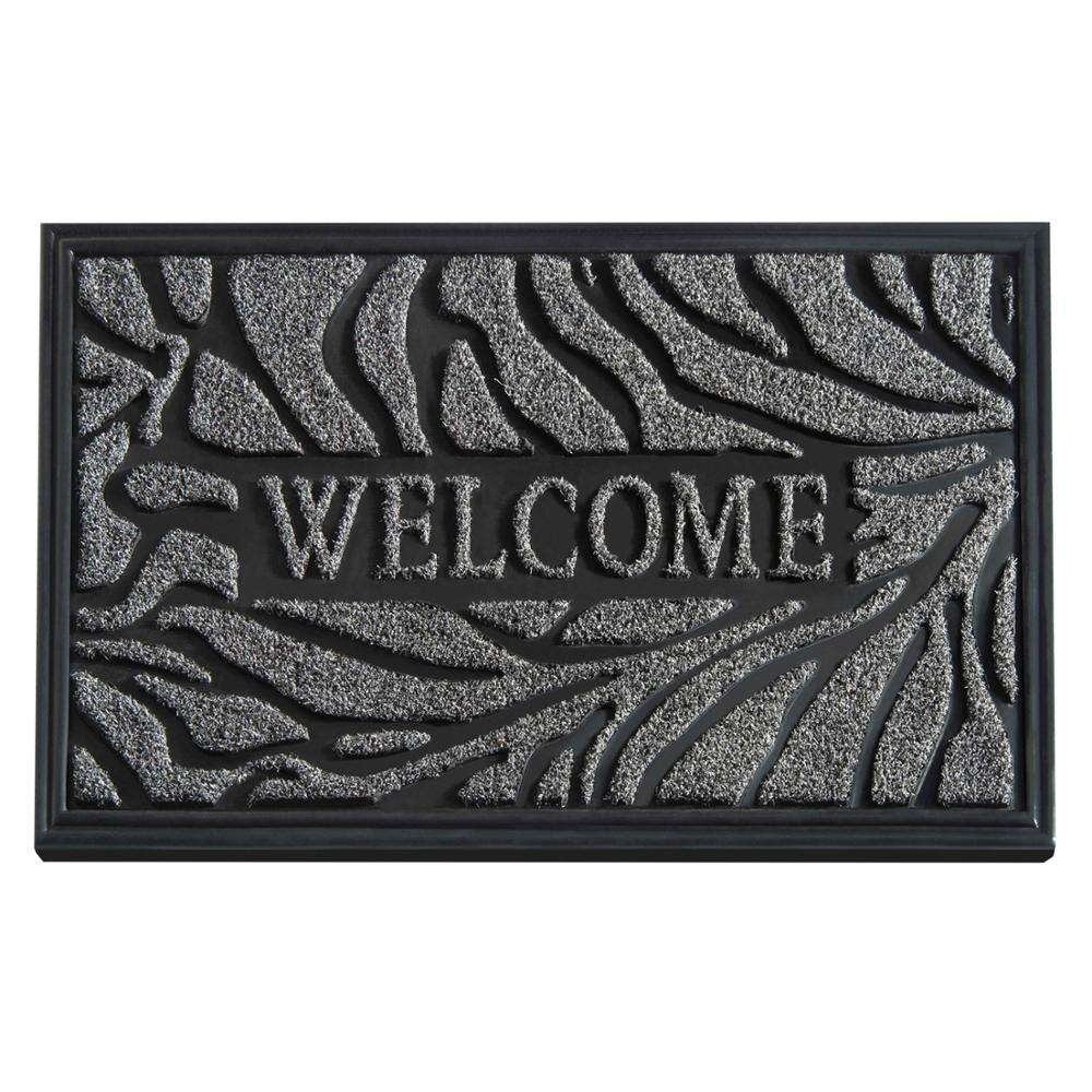 Durable Rubber Door Mat, Waterproof Non-Slip Easy Clean Low-Profile Heavy Duty Mats for Entry