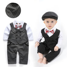 New style Autumn 3 Pieces Fashion Long Sleeve Baby  Gentleman Boy Clothing Sets With Hat