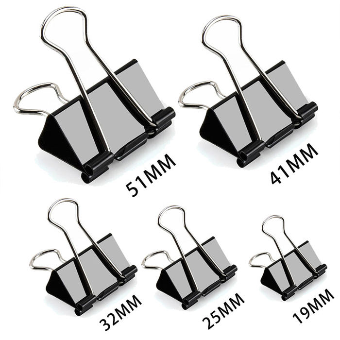 Foldback Clip Black Metal Sheet Binder Clips Grip Clamps Office Supplies Stationery Paper Document Clips