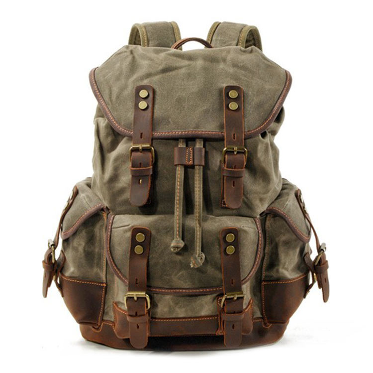 2020 hot genuine leather waterproof vintage waxed canvas backpack bag