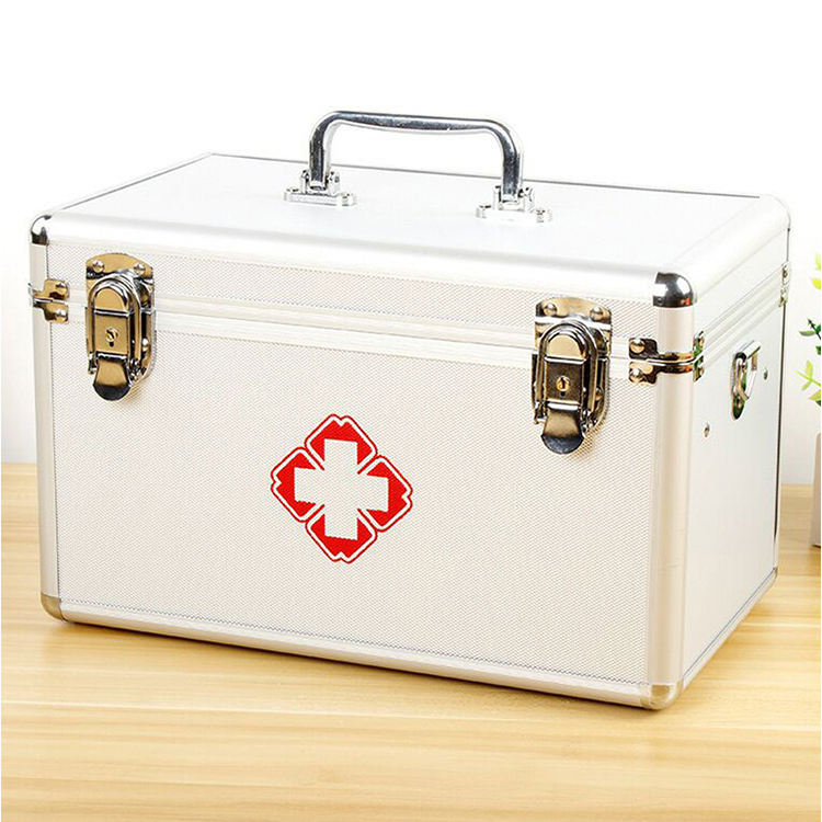 Combination First Aid Medication Portable Medicine Storage Lock Box
