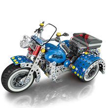 Children Educational Toy Alloy Plug-in Block Toys Blue 3D Motorcycle Model Play Toys