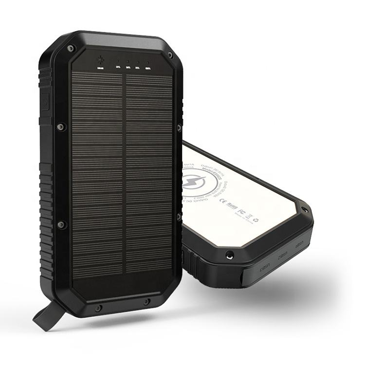 High Capacity Portable Solar Wireless Charger Power Bank 20000mAh Mobile Phone Li-polymer Battery Charger