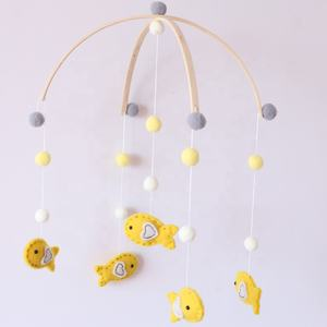 Colored Felt Ball Cot Bed Bell Hanging Toys Baby Crib Mobile with Animal Pendant Toy for Nursery Decor
