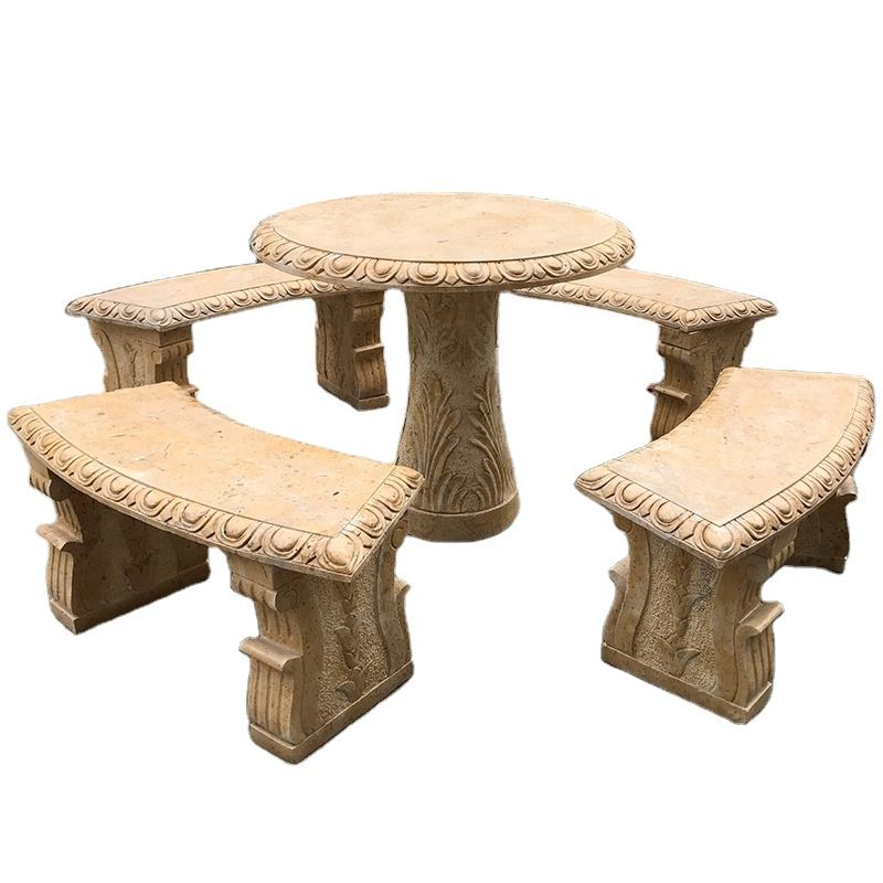 Hot selling natural yellow marble outdoor stone tables and benches