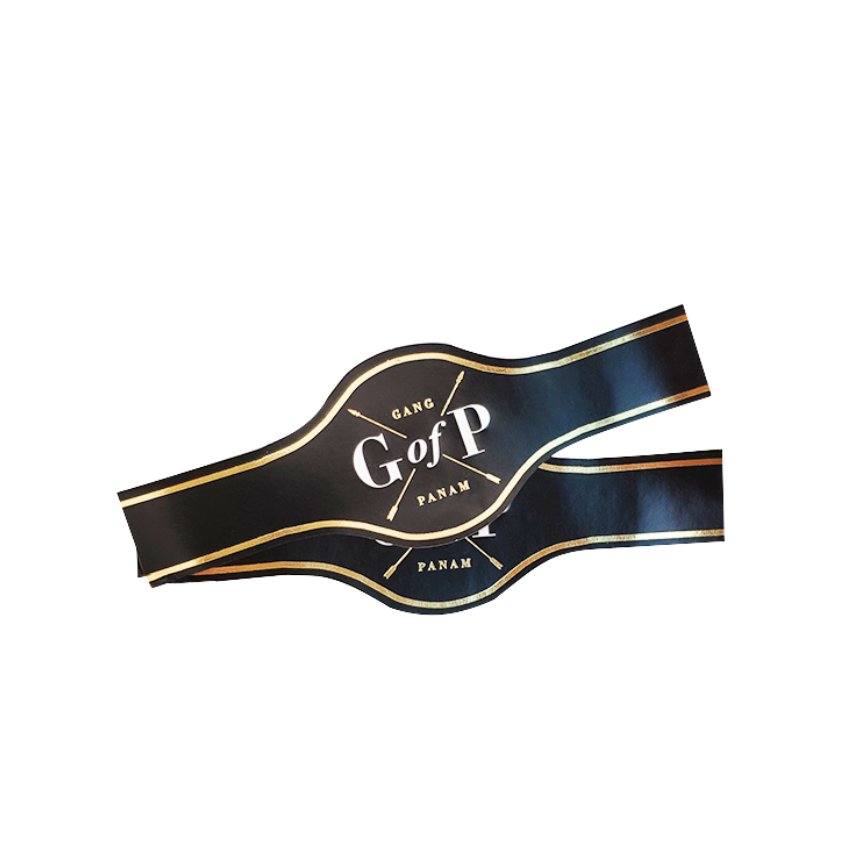 Custom Private Logo Hot Stamping Cigar Band Ring Wrap Gold Foil Cigar Label