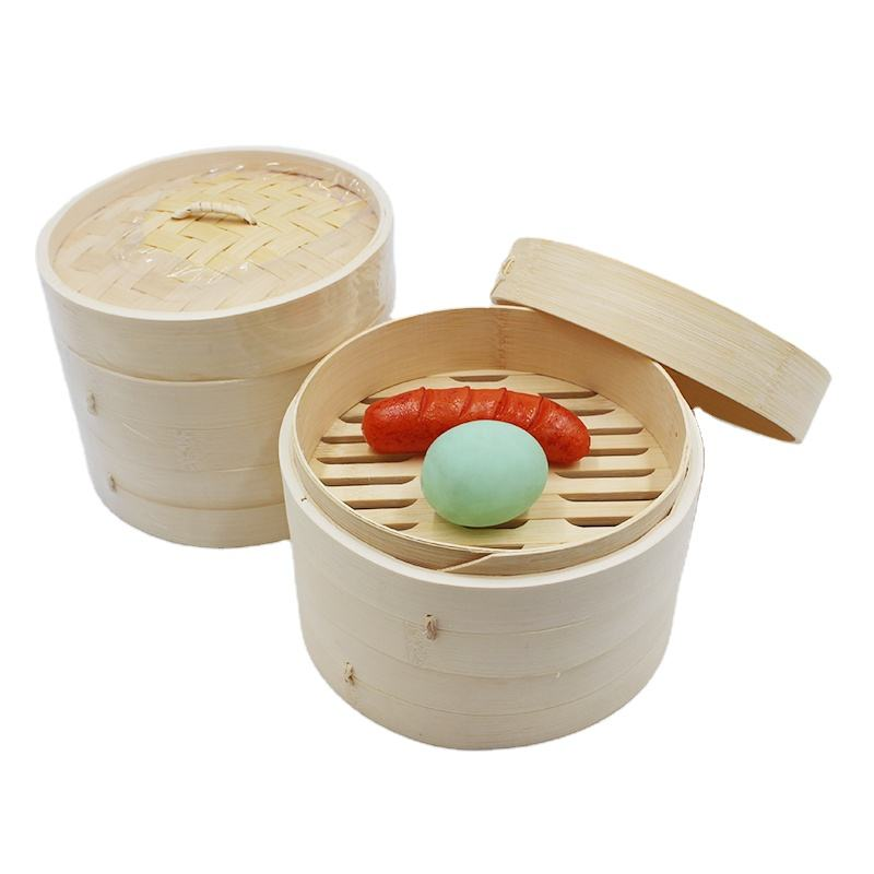 Wholesale eco friendly 2 tier 10 inch dim sum bamboo steamer set