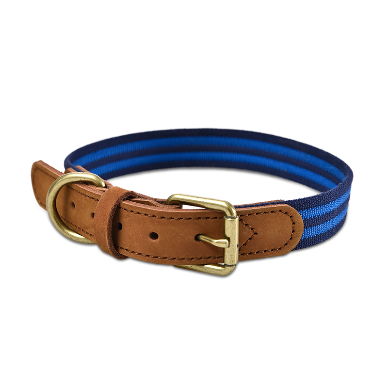 Reflective Leather Pet Walking Accessories Zinc Alloy Buckle D-Ring Dog Collar