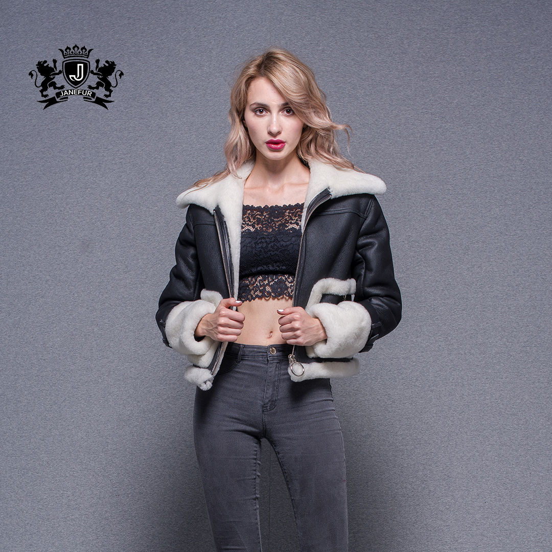 Women New Style Jacket Winter Coat Sheepskin Shearling Motorcycle Leather Jacket with Lamb's Wool Collar