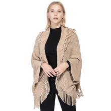Wholesale Ladies Winter Knitted Shawl Women Mexican Poncho Warm Cardigan Scarves