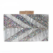 Silver Sequins Arrow Striped Wedding Bridal Party Purses Handbags Acrylic Womens Evening Clutch Bags