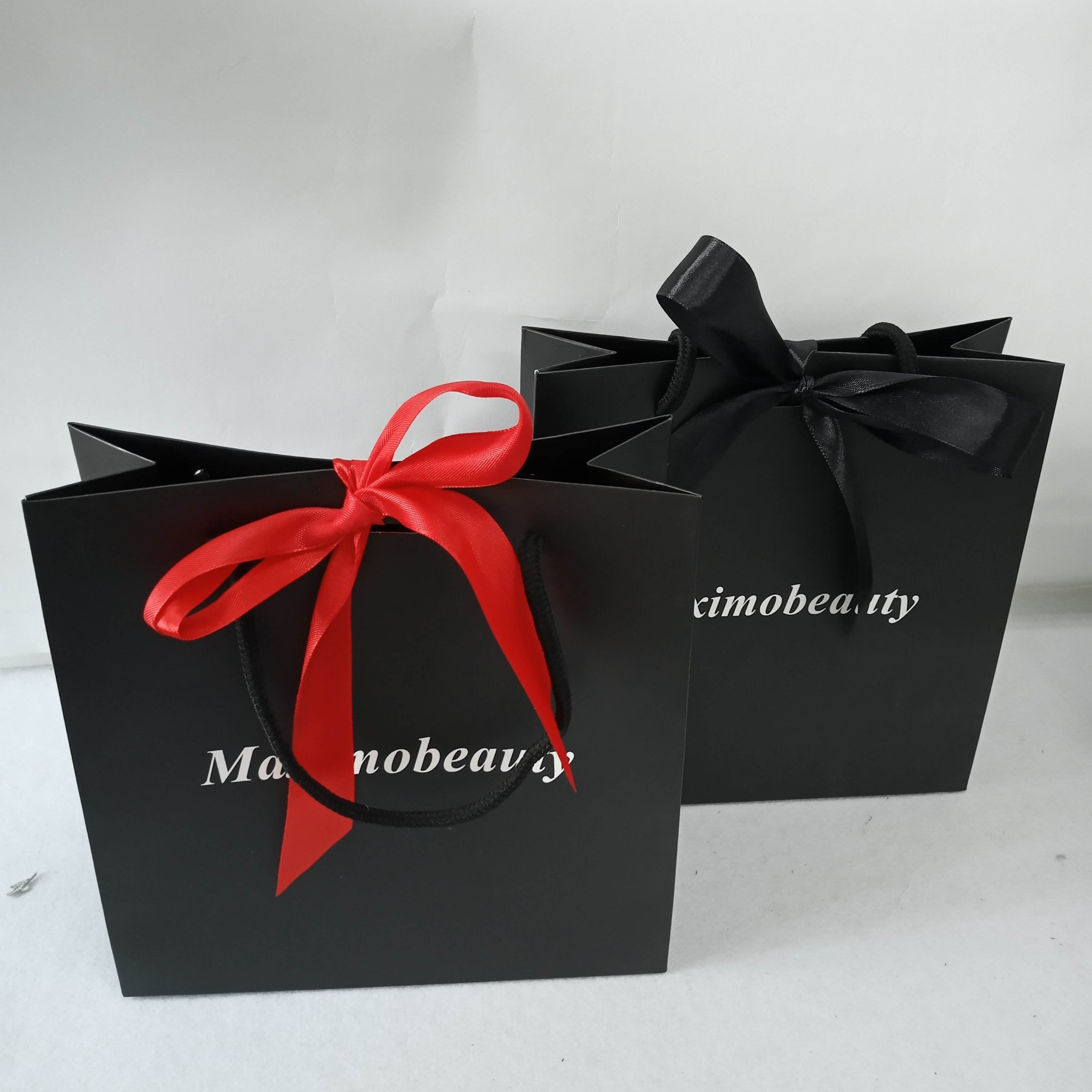 Supplier Design Custom Fancy Packaging Eco Luxury Paper Shopping Bags with Printing Brand Name Logo with ribbon bowknot