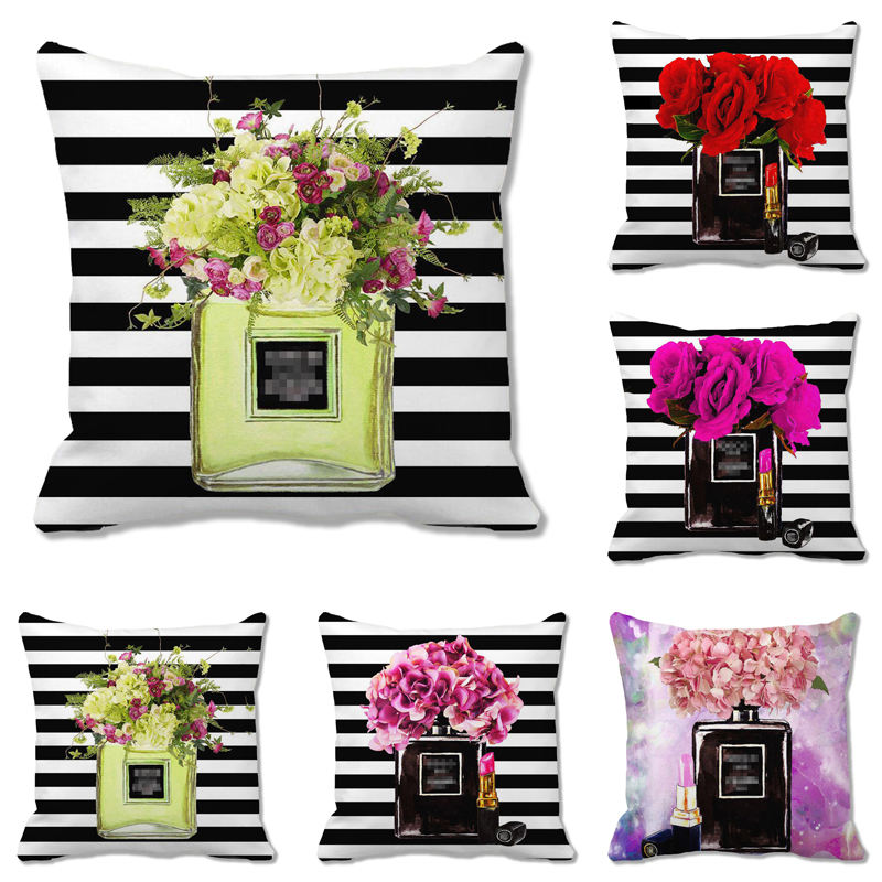 Watercolor Luxury brand perfume and lipstick stripe super soft and blank cushion cover throw pillow cover decorative pillows