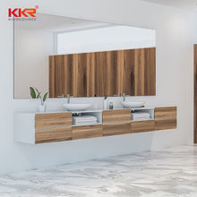solid surface cabinet hotel vanity cabinet with sink and mirror