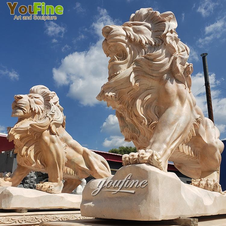 Garden Life Size Animal outdoor carving stone sculpture Marble lion Statues