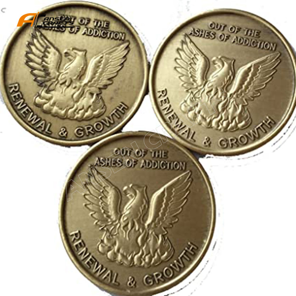 Bulk Bronze Out of the Ashes of Addiction Renewal and Growth Phoenix Antique coin Token