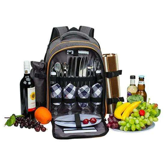 Custom High Quality Personalized 4 Person Picnic backpack with Insulated Cooler Compartment