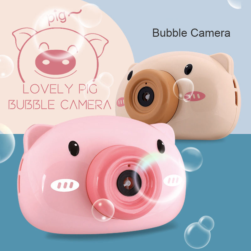 Hot sale kids pink pig bubble machine electric bubble camera music glow bubble camera toys