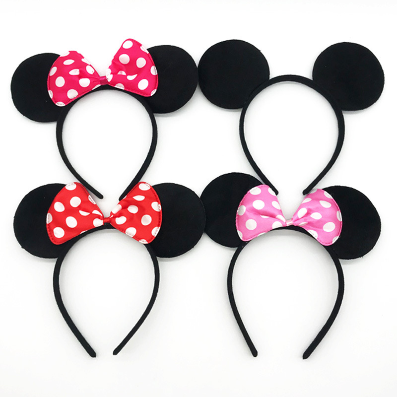 Happy Birthday Party Headpiece Cartoon Mouse Big Wave Point Ear Hair Band Bow Mickey Hair Band