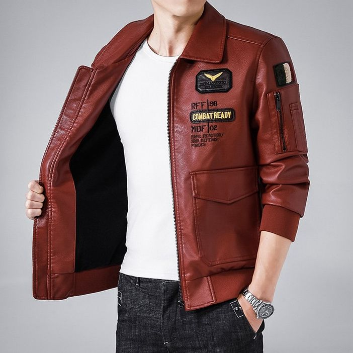 Casual [ Leather Jacket Men ] Retro Style Embroidery Leather Jacket Men Casual PU Motorcycle Jacket Turn-Down Collar Comfort Bomber Camp Leather Jacket