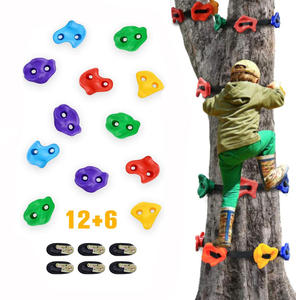 kkmark Ninja Tree Rocks Climbing Holds for Kids Adult Climber with 6 Ratchet Straps for Outdoor Ninja Warrior Obstacle Course