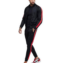 Custom sport wear mens polyester track suit with side stripes