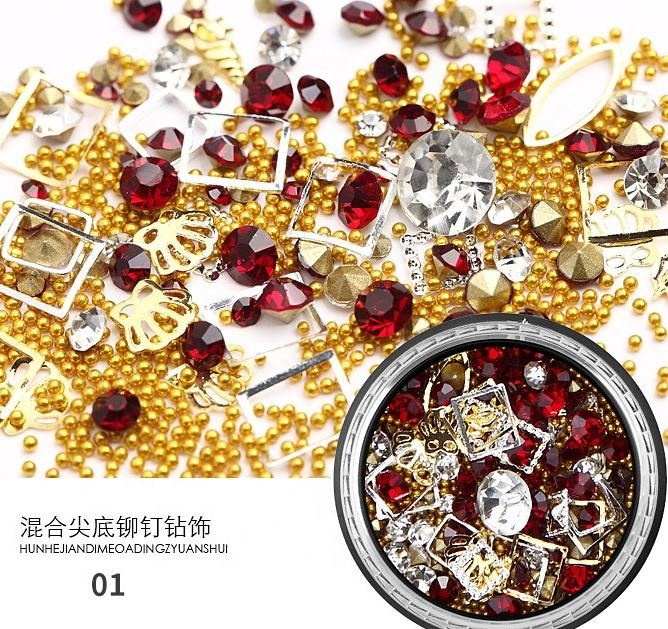 3D Mix-shape Metal Nail 7 Boxes Mixed Nail Art Rhinestones and Nail Rivets Studs Diamonds Crystals Beads Shiny Rivet Gems