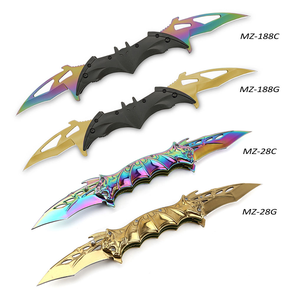 Bat design 2 double blade 440 cool stainless steel combat knife personal women self defense products