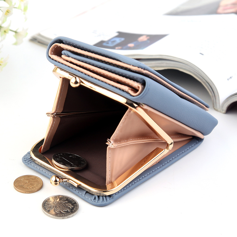 Custom 2021 Lady Short Women Wallets Black Red Color Mini Money Purses Small Fold PU Leather Female Coin Purse Card Holder