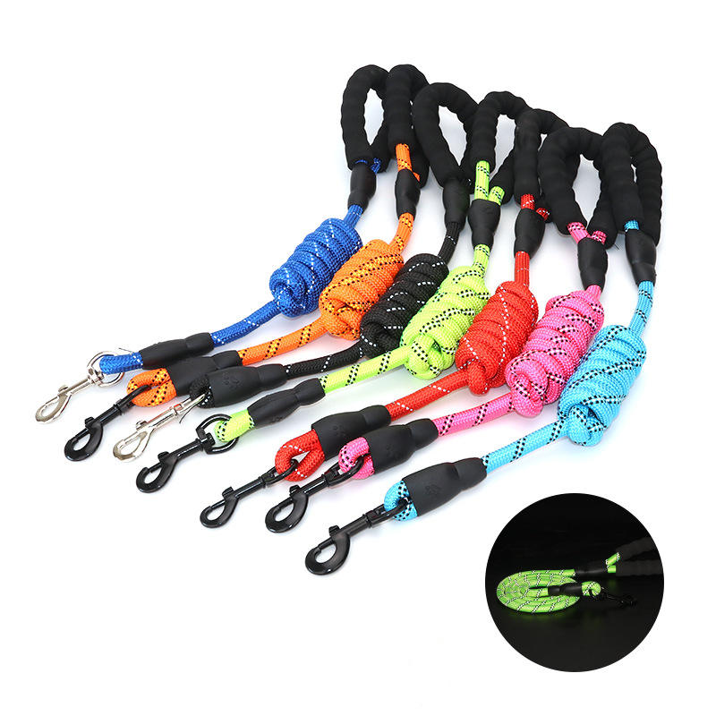 Amazon Hot Selling Heavy Duty Nylon Braided Rope Pet Leash Strap Reflective Dog Leash