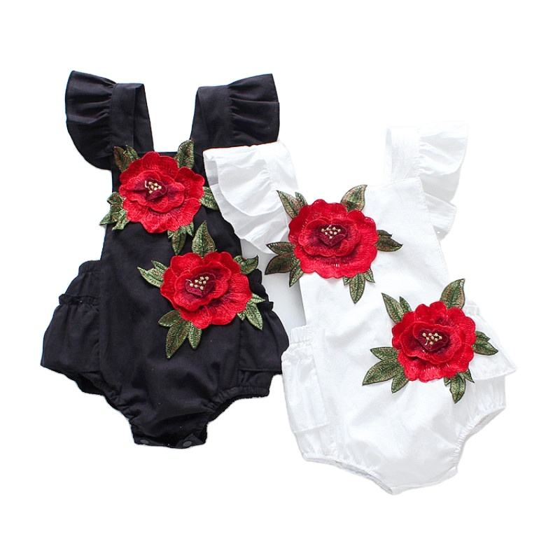 summer sleeveless infant toddler baby girl floral jumpsuit cotton new born baby romper
