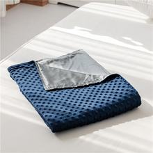 blue minky and grey cooling bamboo duvet cover  for weighted blanket calming comforter cover for hot sleepers