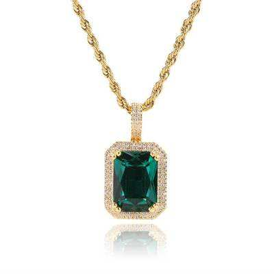 Fashion Iced Cubic Zirconia Hiphop Gem Necklace Men & Women Jewelry Pink/Blue/Green/Red Square Gem Pendant Necklace