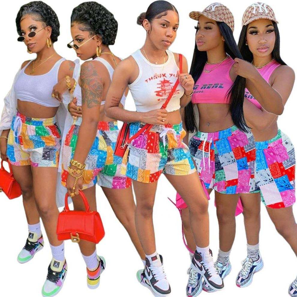 Summer 2021 Women Plaid Bandana Print Beach Shorts Matching Colors Track Pants Women's Trousers And Pants