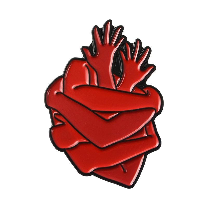 Cute Cartoon Brooch Pins The Human Organs Medical Brain Red hands Embracing Heart Enamel Lapel Badge Brooch