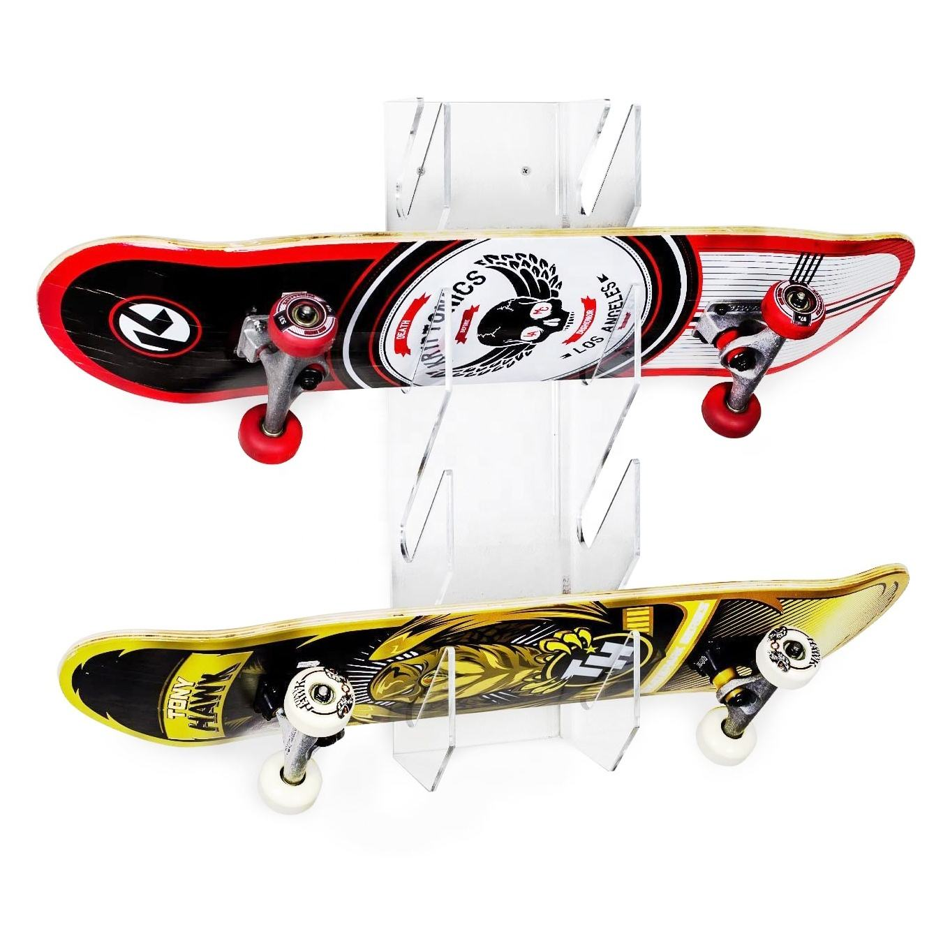 Clear Acrylic Wall Mount Display Skateboard Storage Display Rack